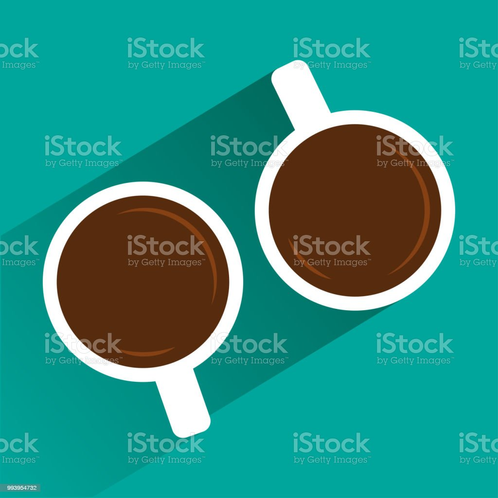 Two white cups of coffee on turquoise background with shadow. View...