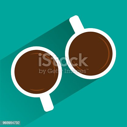 Two white cups of coffee on turquoise background with shadow. View from above. Vector illustration