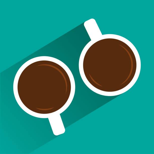 bildbanksillustrationer, clip art samt tecknat material och ikoner med två vita koppar kaffe på turkos bakgrund med skugga. visa från ovan. vektorillustration - kaffekopp