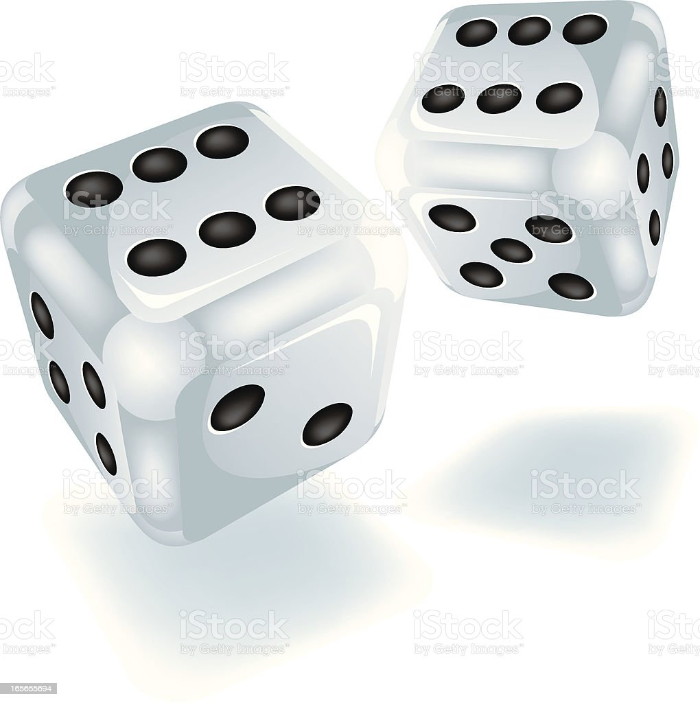 Two white dice royalty-free stock vector art