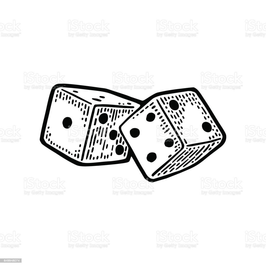 Two white dice. Vintage black vector engraving illustration