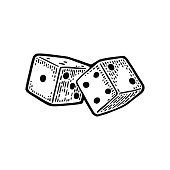 Two white dice. Vintage black vector engraving illustration. Isolated on white background.