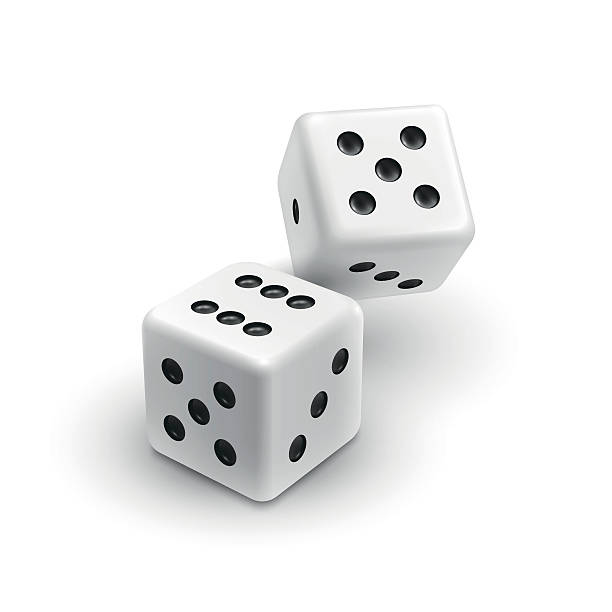 two white dices casino icon - dice stock illustrations, clip art, cartoons, & icons