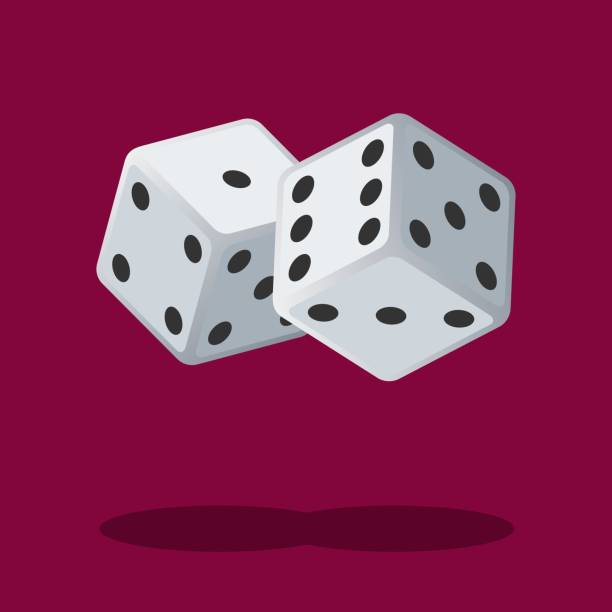 two white dices isolated on background with shadow. dice gambling. white cubes - dice stock illustrations, clip art, cartoons, & icons
