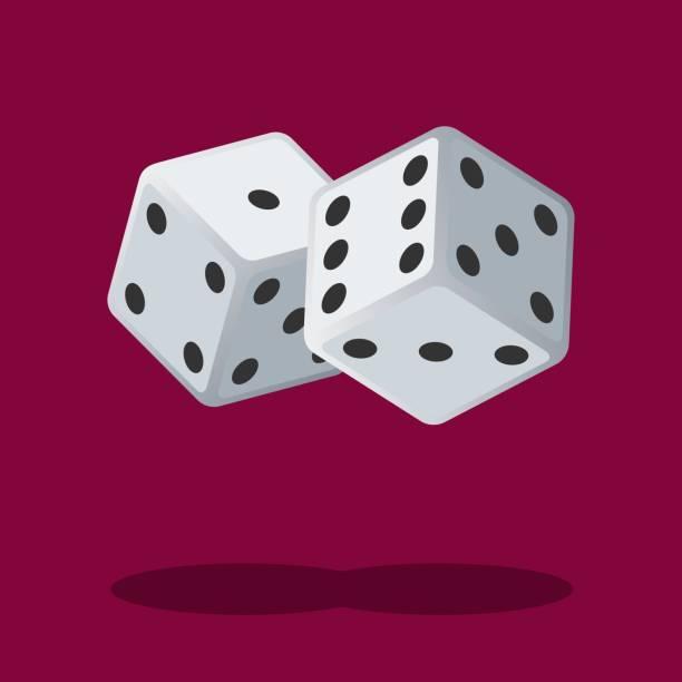 illustrazioni stock, clip art, cartoni animati e icone di tendenza di two white dices isolated on background with shadow. dice gambling. white cubes - gioco dei dadi