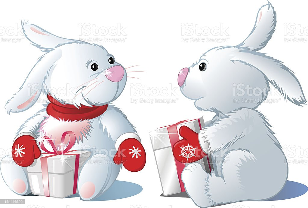 two white hare royalty-free two white hare stock vector art & more images of animal