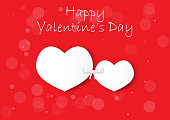 Two white hearts on red background, valentine concept vector illustration