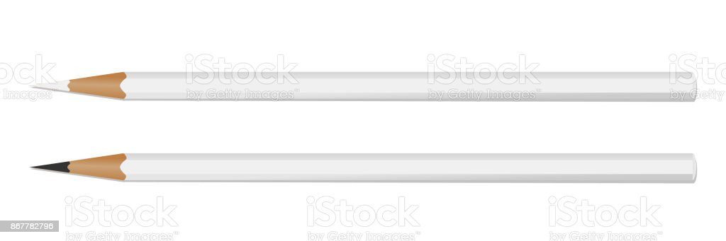 Two white pencil on white background for your logo. Mockup . Vector vector art illustration