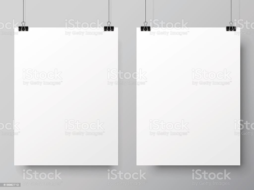 Two White Poster Templates vector art illustration