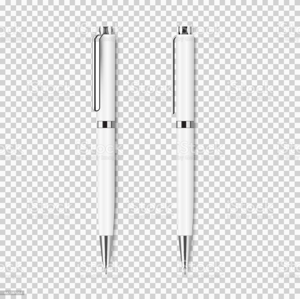 Two white realistic pen on transparent background vector art illustration