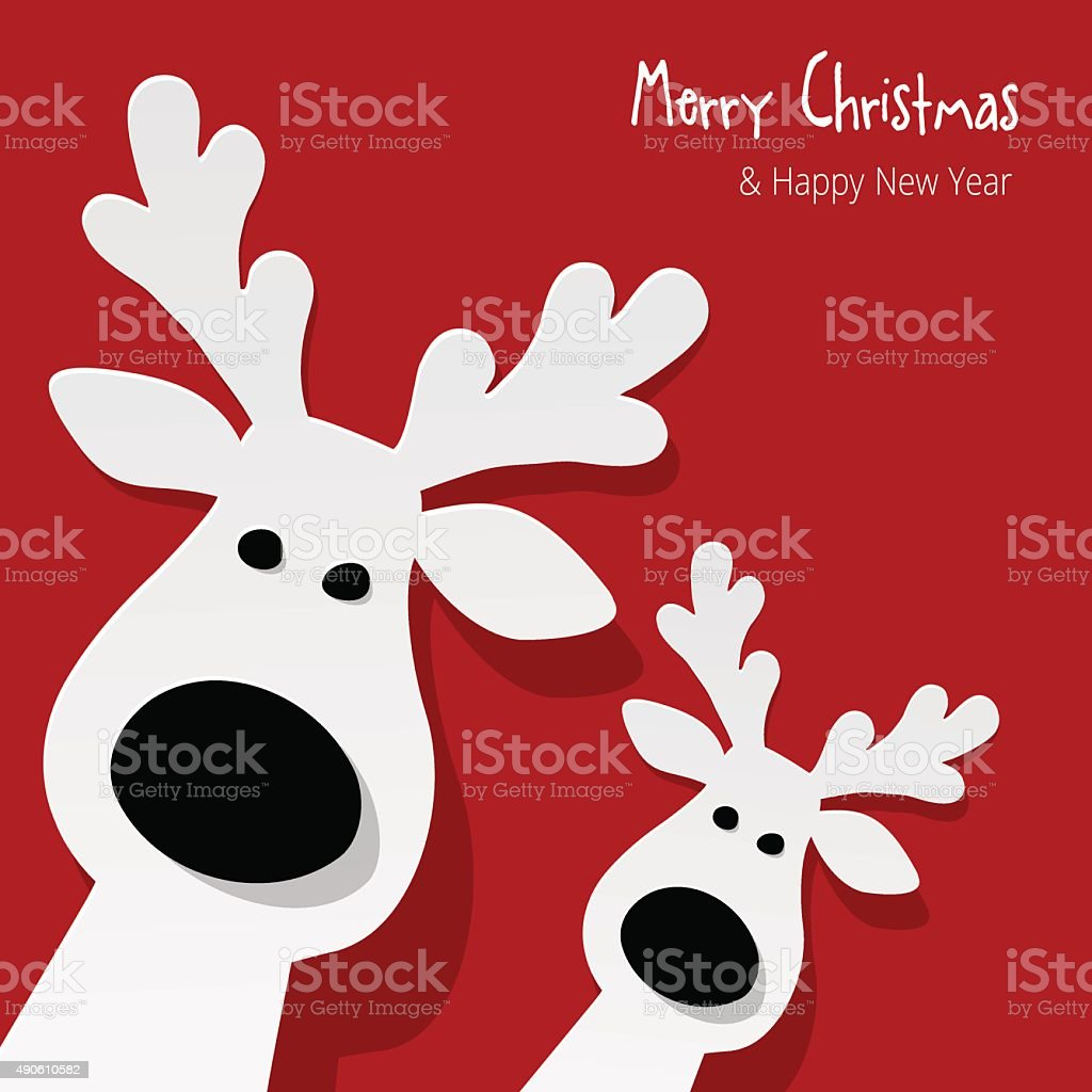 Two white Reindeer on a red background.