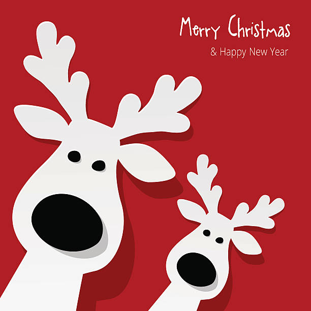 Two white Reindeer on a red background. vector art illustration