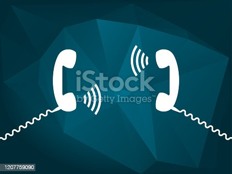 Communication, chat, conversation, call us, contact us, concept. Transmitting sounds by telephone. Vector illustration, flat style.