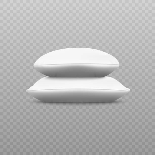 zwei weiße weiche kissenstapel aus seitlicher sicht - stapelbett stock-grafiken, -clipart, -cartoons und -symbole