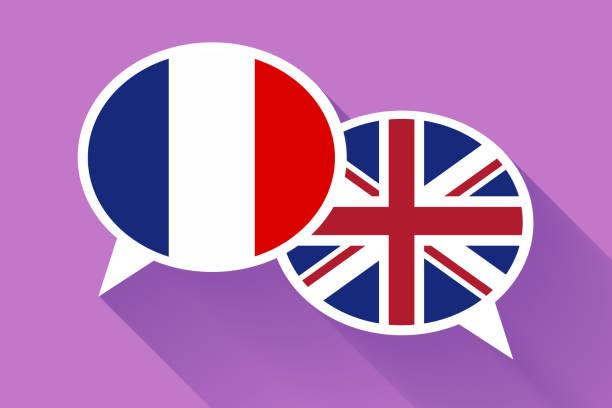 2 프랑스와 영국 국기와 함께 연설을 거품 화이트. 영어 개념적 그림 - 잉글랜드 문화 stock illustrations
