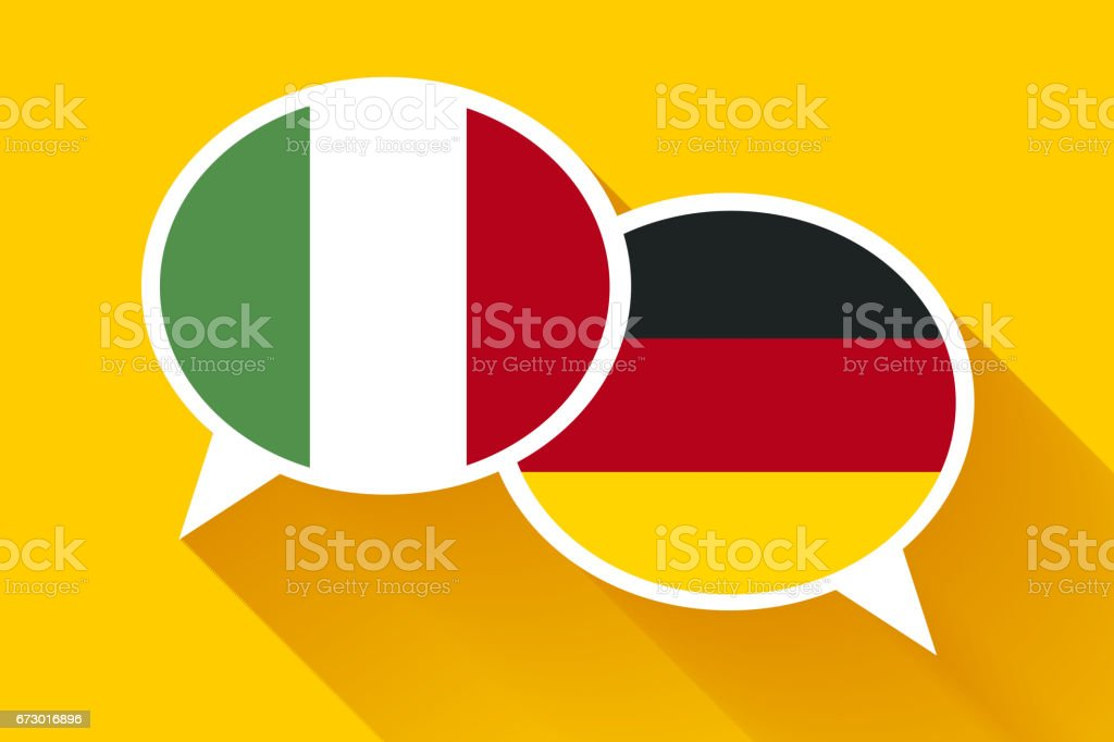 Two white speech bubbles with Italian and German flags vector art illustration