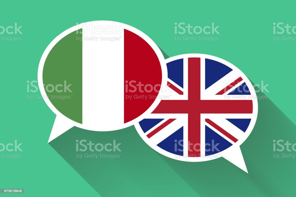 Two white speech bubbles with Italian and Great britain flags. English language conceptual illustration vector art illustration