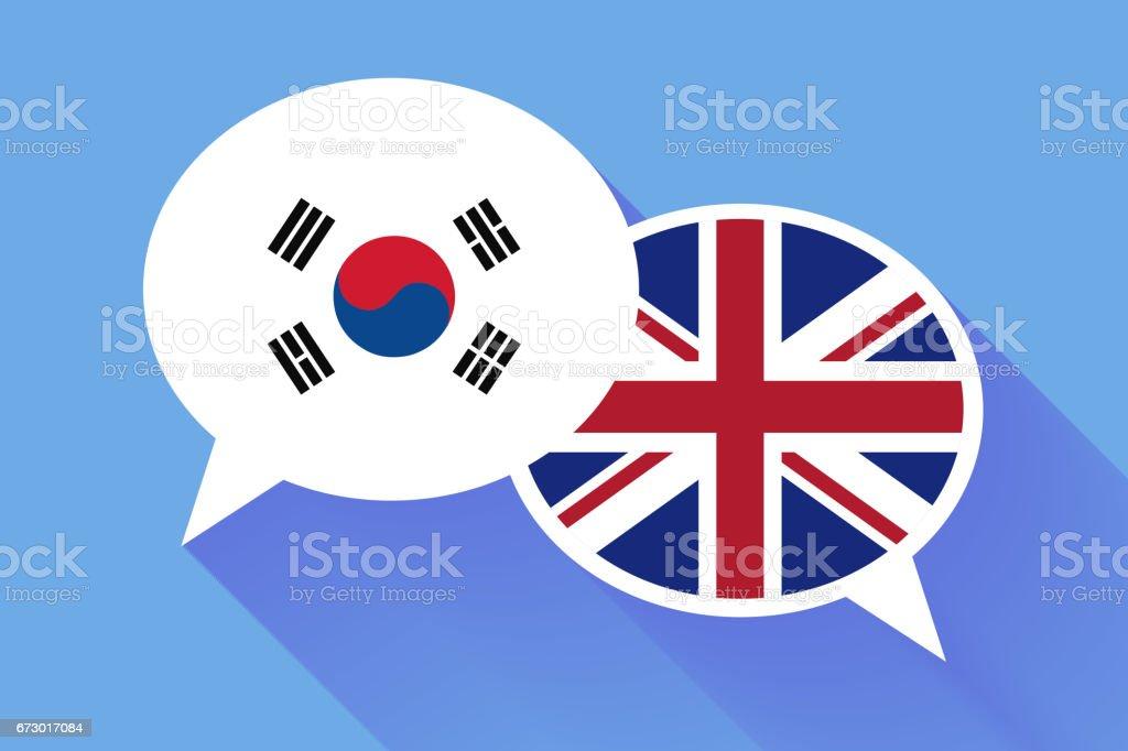 Dois brancos bolhas do discurso com sinalizadores de Coreia do Sul e Grã-Bretanha. Ilustração conceitual de língua inglesa - ilustração de arte em vetor