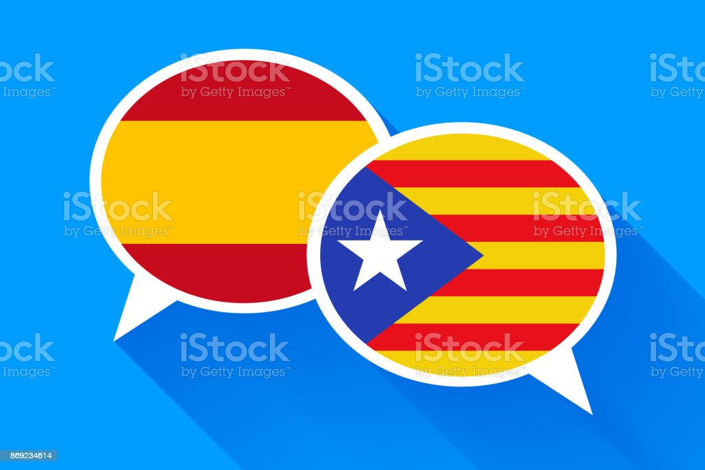 Two white speech bubbles with Spain and Catalonia flags vector art illustration