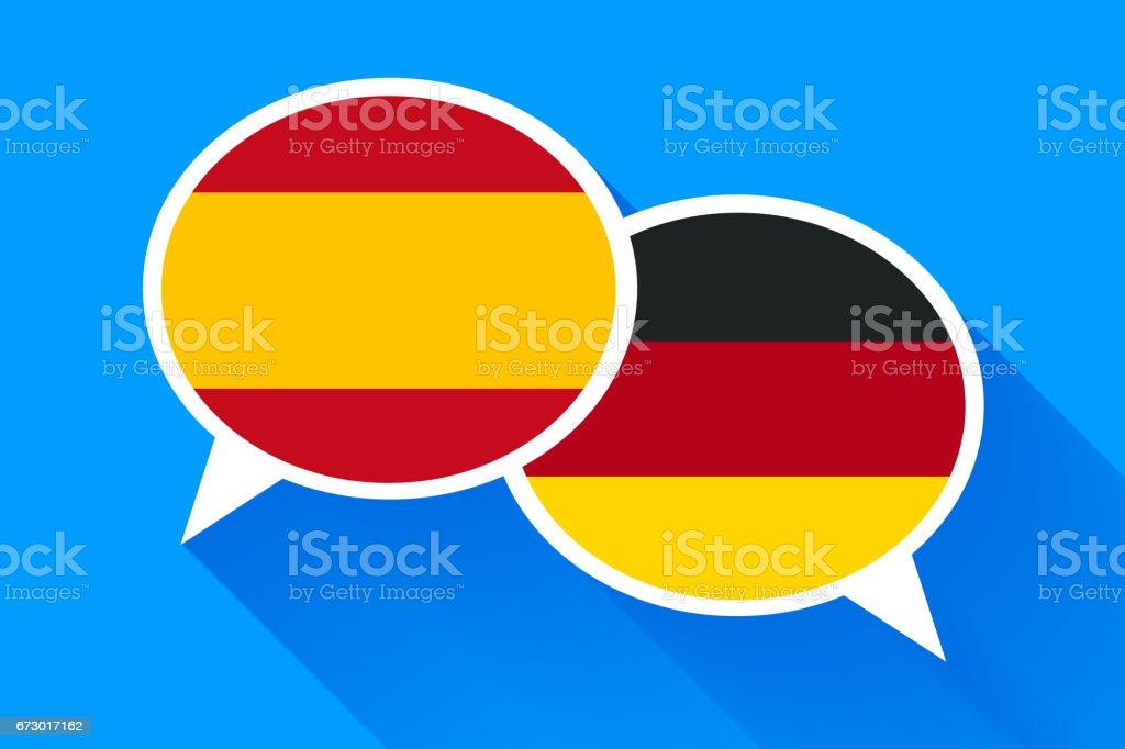 Dois brancos bolhas do discurso com bandeiras de Espanha e alemão - ilustração de arte em vetor
