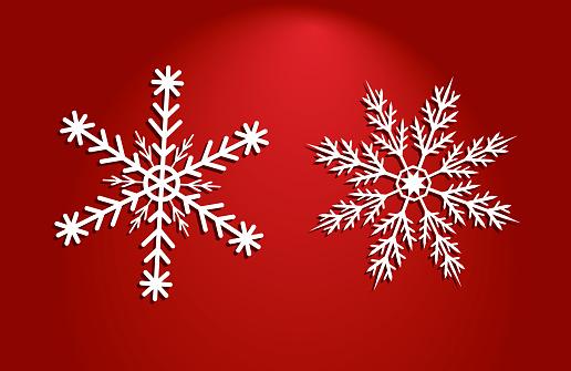 Two White Vector Snow Flakes Of Different Shapes On Red Background — стоковая векторная графика и другие изображения на тему 2019