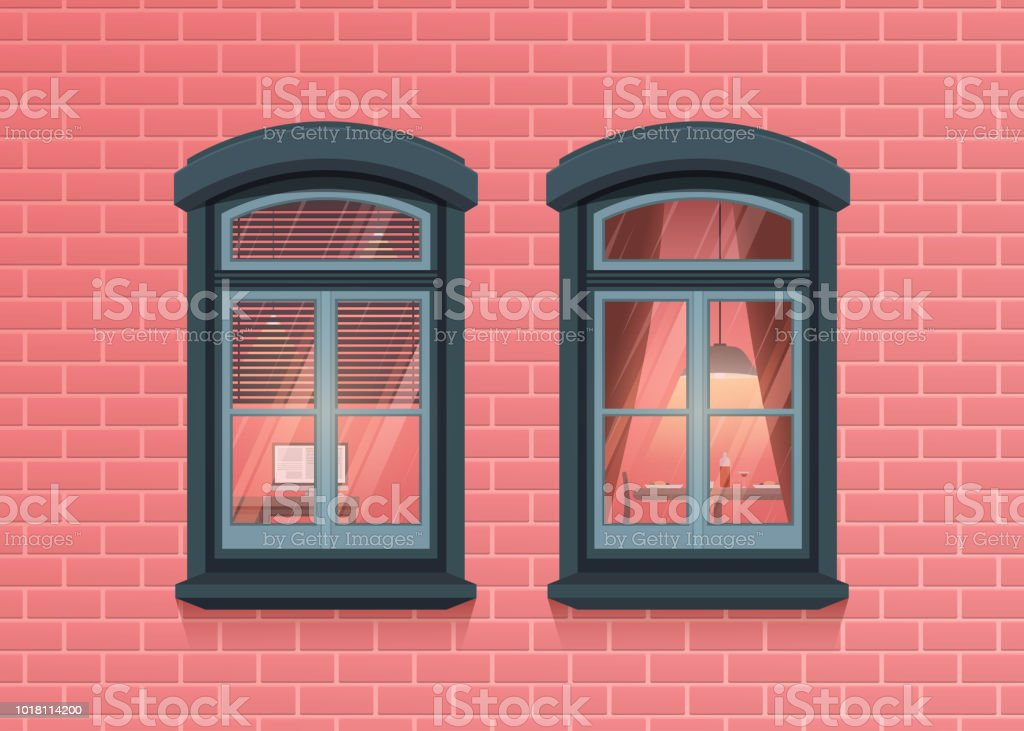 Two Windows Frames View On House Pink Brick Wall Highly Detailed ...