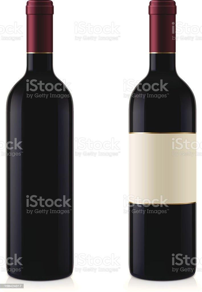 Two Wine Bottles vector art illustration