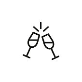 Two Wine Glasses Line Icon