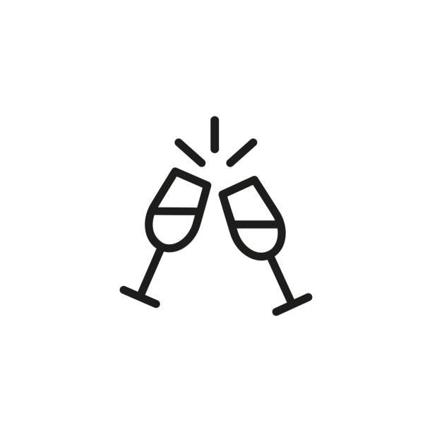 ilustrações, clipart, desenhos animados e ícones de ícone da linha de dois copos de vinho - brinde