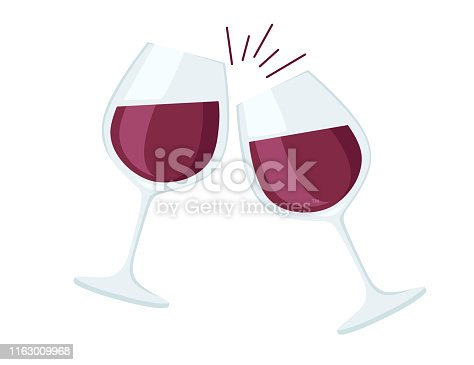 Two wine glasses with red wine cheers flat vector illustration on white background.