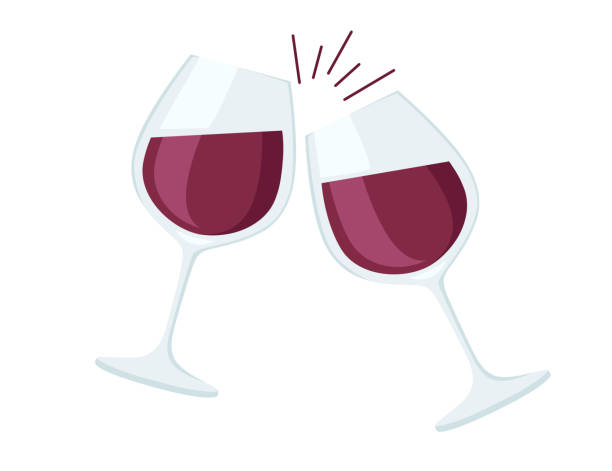 Two wine glasses with red wine cheers flat vector illustration on white background Two wine glasses with red wine cheers flat vector illustration on white background. wineglass stock illustrations