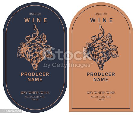 two wine labels with hand-drawn bunch of grapes