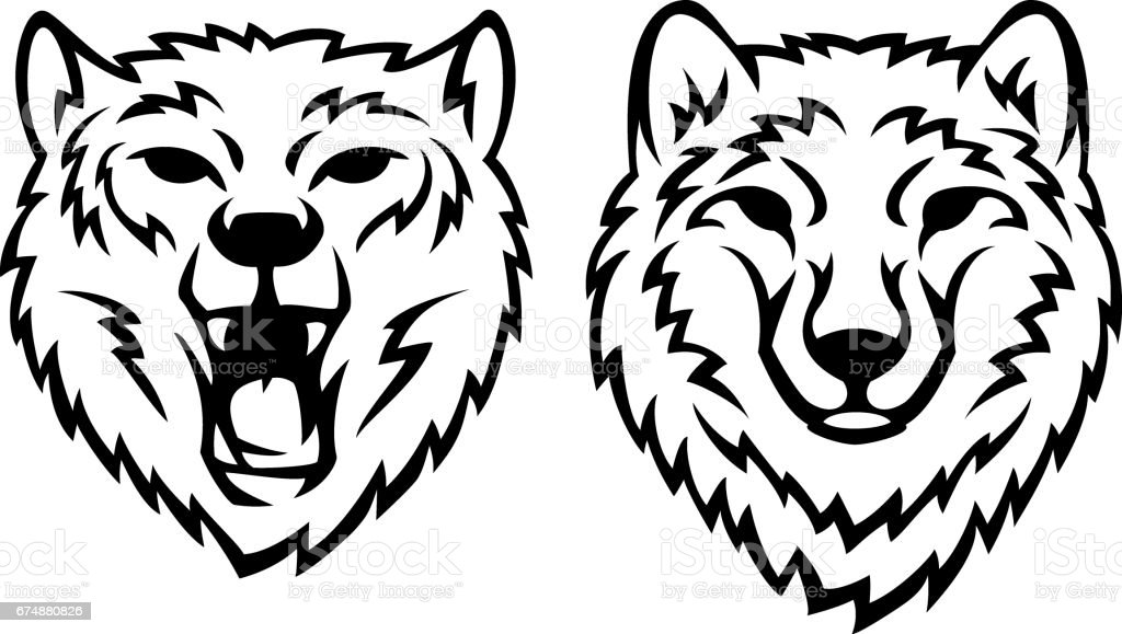 Two wolf heads vector art illustration