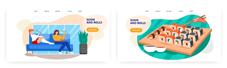 Two woman eat japanese food at home. Sushi and rolls dinner menu set. Japanese sushi concept illustration. Vector web site design template