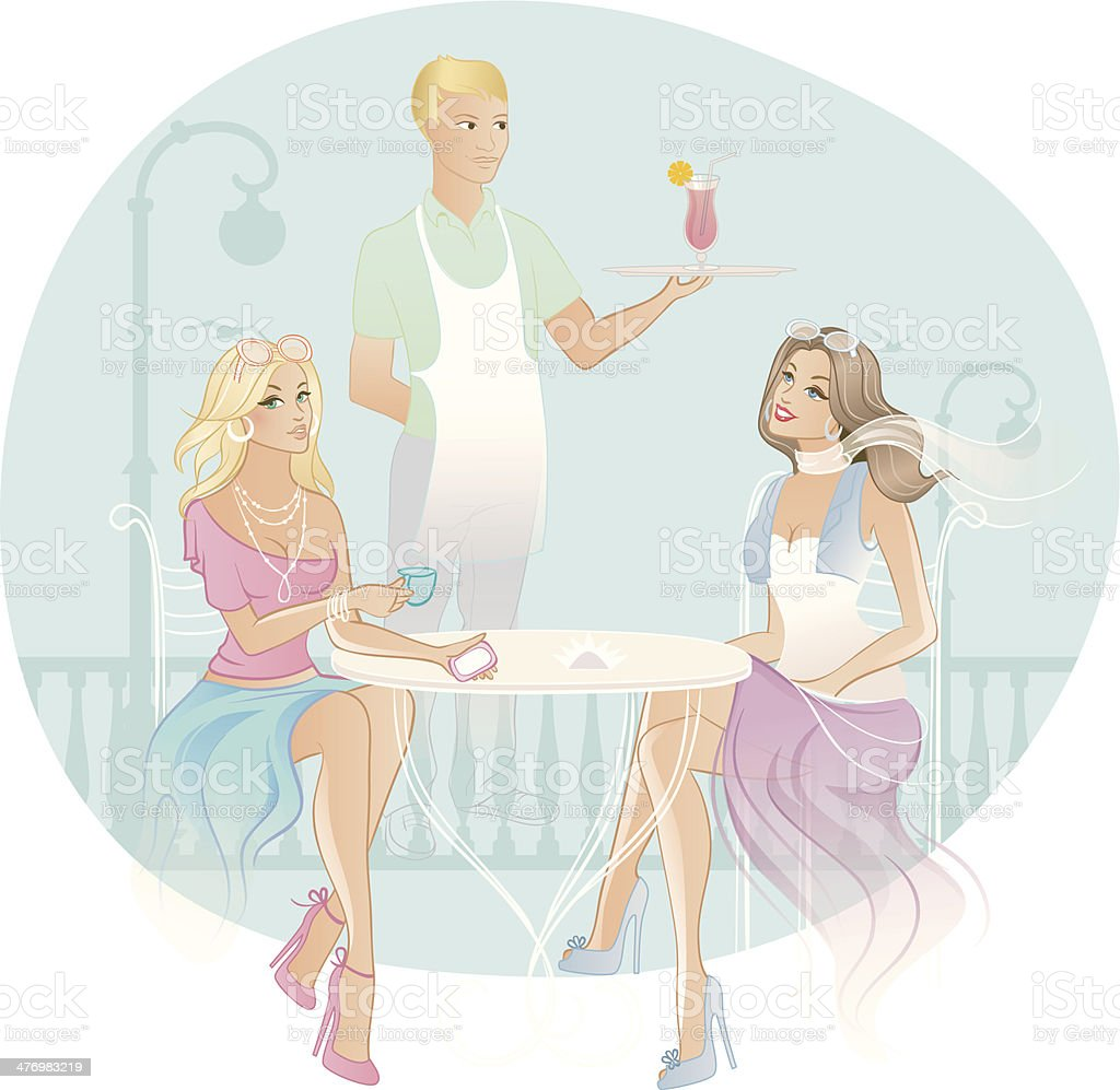 Two woman in coffee house royalty-free stock vector art