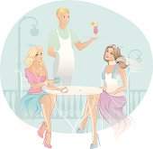 Vector illustration of Two woman in coffee house
