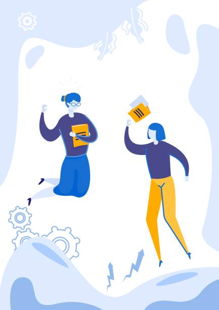 노트북이나 문서로 점프하는 두 여자. - 사람 모형 제작물 stock illustrations
