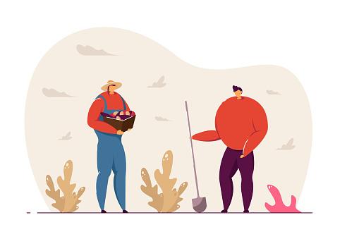 Two women doing gardening vector illustration