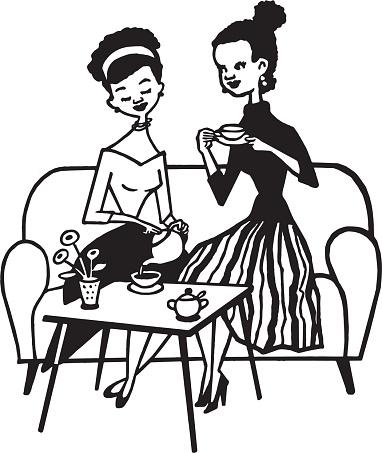 Two Women Drinking Tea
