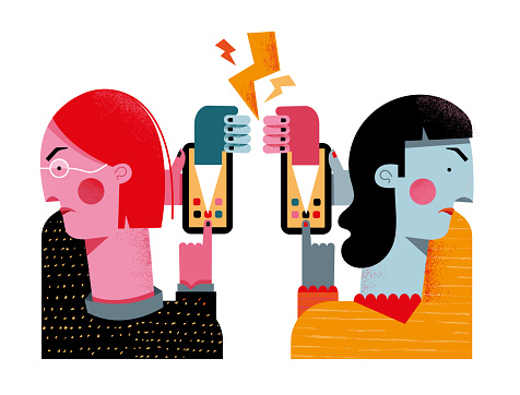 Two women fighting on social media
