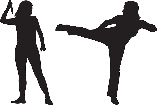 Two Women Fighting Silhouettes