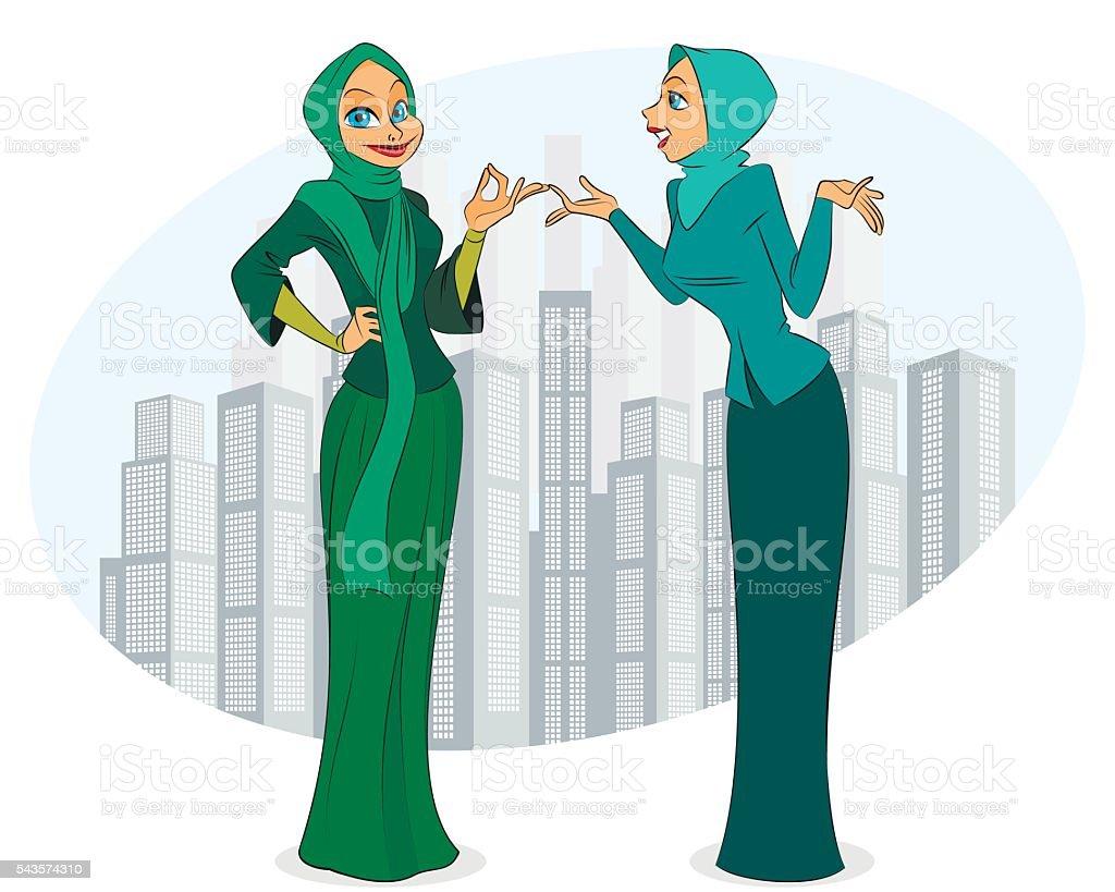 Two women in city
