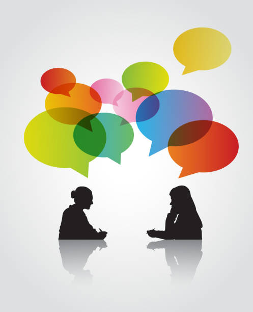 two women in the discussion - two people talking stock illustrations, clip art, cartoons, & icons
