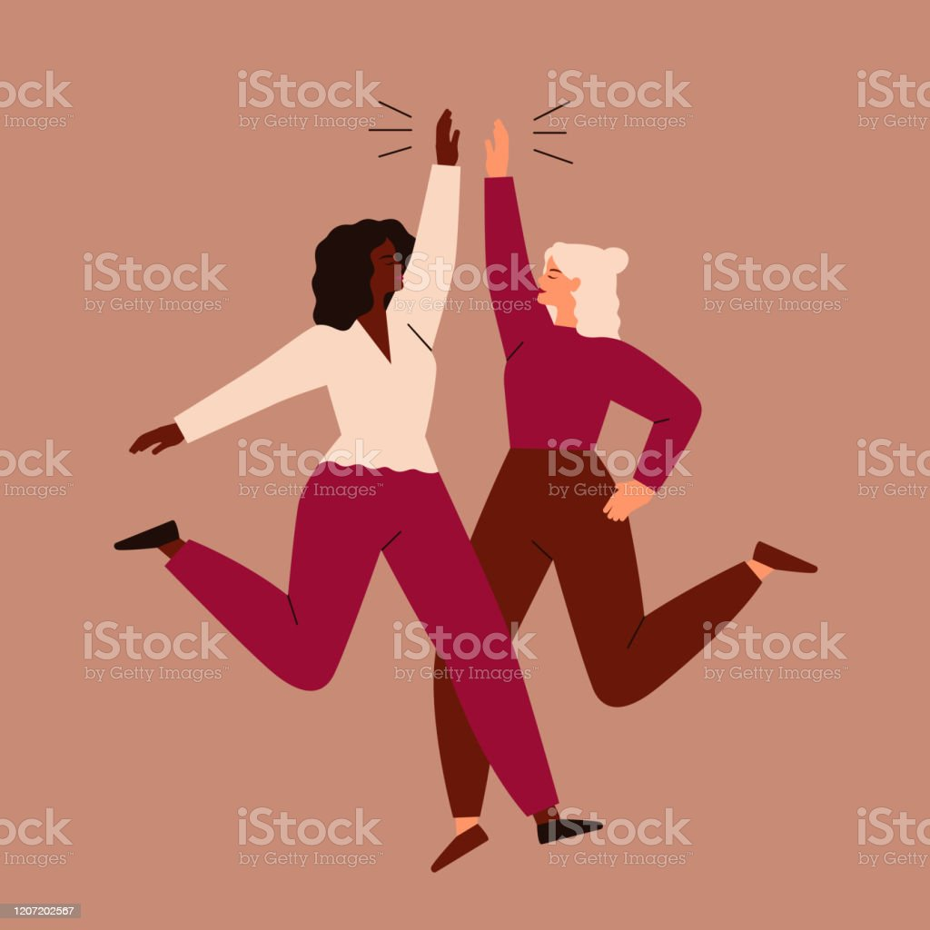 兩個女人跳起來,互相高五。 - 免版稅20多歲圖庫向量圖形