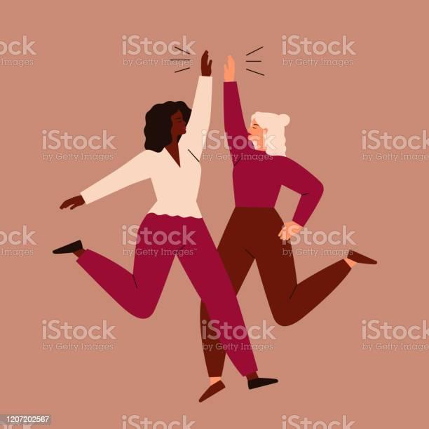 兩個女人跳起來互相高五向量圖形及更多20多歲圖片