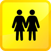 Two Woman Love Each Other.The icon is black and is placed on a square yellow vector sticker. The button has a sight glow and the background is white. The composition is simple and elegant. The vector icon is the most prominent part if this illustration. The yellow and black contrast is a good representation for alert, warning and notice signs.