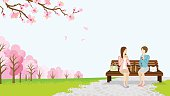 Two women lunch in the spring park -EPS10