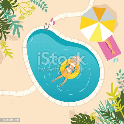 istock Two women relaxing at the swimming pool 695495266