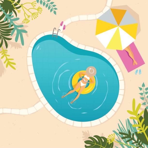 bildbanksillustrationer, clip art samt tecknat material och ikoner med två kvinnor avkopplande vid poolen - spain solar