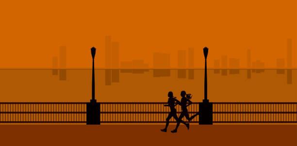 ilustrações de stock, clip art, desenhos animados e ícones de two women running in city. isolated vector silhouettes. sunrise run - young woman running city